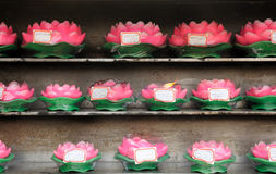 Wax Lotus Flower Buddhist Prayer Candles Stock Photo