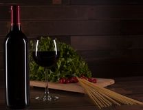 Prepare the romantic dinner with pasta, salad and red wine, in Mexico royalty free stock images