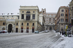 Wax Museum of Rome under snow. This picture was taken february 4th 2012, after one of the heaviest snowfall in Rome since 1985. This is the historic center of Stock Images