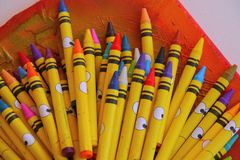 Wax pens colours painting drawing Artist Tools art. Kids design abstract royalty free stock photos