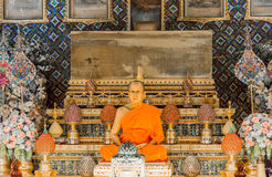 Wax sculpture of Abbot  in Wat Paknam Thailand Royalty Free Stock Photography