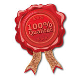 Wax seal 100 percent quality. Red wax seal 100 percent quality vector illustration