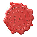 Wax seal. An image of a red seal of wax Stock Photos
