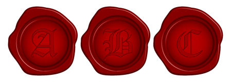 Wax seal. Vector wax seal with letter royalty free illustration