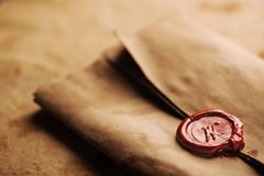 Wax seal. On a grunge paper royalty free stock photos
