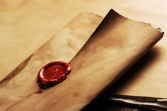 Wax seal. On a grunge paper Royalty Free Stock Photo