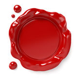 Wax Seal. Red wax seal with space for logo or text  on white background. Computer generated image with clipping path Stock Image