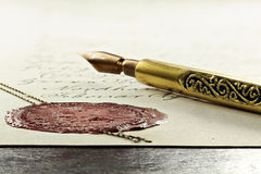 Wax seal. Antique notarial wax seal on old document Royalty Free Stock Photos