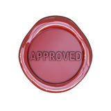Wax seal with approved text. Isolated on white background Royalty Free Stock Photos