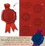 Wax Seal - Award Winner. Vector Illustration of a wax seal with a set of stamps regarding Award Winner subjects. All design elements neatly on well-defined Stock Image
