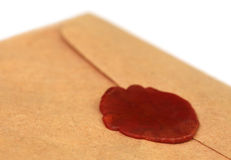 Wax seal on brown envelope Stock Image