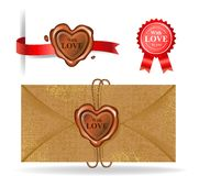Wax seal collection in heart shape. Collection of Wax seals and red ribbons. Vector illustration royalty free illustration