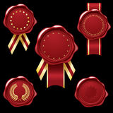 Wax seal collection with ribbons Royalty Free Stock Photography