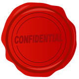 Wax seal with confidential. Confidential stamped on red wax stamp - vector Stock Photography