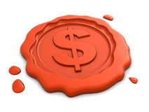 Wax seal with dollar sign Royalty Free Stock Photo