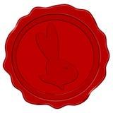 Wax seal with easter bunny head (vector). Wax seal with easter bunny head in dark red (vector stock illustration