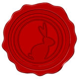 Wax seal with easter bunny (vector) Royalty Free Stock Images
