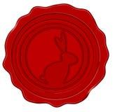 Wax seal with easter bunny (vector). Wax seal with easter bunny in dark red (vector stock illustration