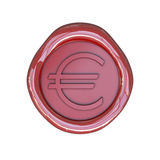Wax seal with euro sign Stock Photos