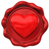 Wax seal in form of heart hape Stock Photos
