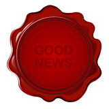 Wax seal with Good news Stock Photo