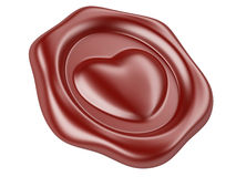 Wax seal with heart and red ribbon Royalty Free Stock Image