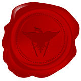 Wax seal with a heraldic element Stock Image