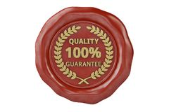 Wax seal with the inscription quality guarantee.3D illustration. Wax seal with the inscription quality guarantee. 3D illustration Royalty Free Stock Photo