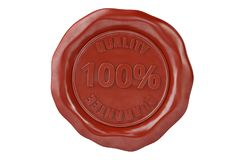 Wax seal with the inscription quality guarantee.3D illustration. Wax seal with the inscription quality guarantee. 3D illustration stock illustration