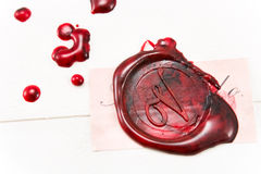 Wax seal on a letter. Wax seal on old letter stock photography