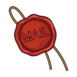 Wax seal.Mail and postman single icon in cartoon style vector symbol stock illustration web. Stock Image