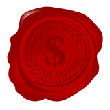 Wax seal with money back guarantee. And dollar symbol stock illustration