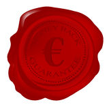 Wax seal with money back guarantee and euro. Wax seal with money back guarantee and sign euro Royalty Free Stock Photography
