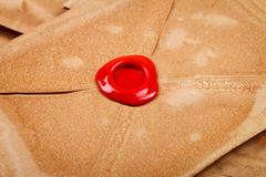 Wax seal on old envelope Royalty Free Stock Photo