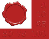 Wax seal for own editing with collection of jubilee numerals Royalty Free Stock Images