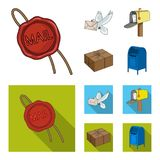 Wax seal, postal pigeon with envelope, mail box and parcel.Mail and postman set collection icons in cartoon,flat style. Vector symbol stock illustration Stock Photography