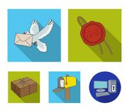 Wax seal, postal pigeon with envelope, mail box and parcel.Mail and postman set collection icons in flat style vector Stock Photography