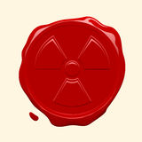 Wax seal with radioactive symbol Stock Images