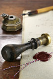 Wax seal. Red wax seal on document Royalty Free Stock Images