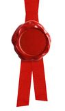 Wax seal or signet with red ribbon isolated. Wax seal with red ribbon isolated on white Stock Images
