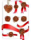 Wax seal and red ribbons collection Stock Image