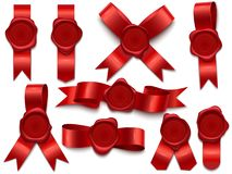 Wax seal ribbon. Wax stamps on ribbons, royal mail letter postal stamp and premium wax seals isolated 3D vector vector illustration
