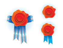 Wax seal with ribbons. Vector illustration Royalty Free Stock Image