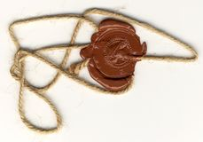 Wax seal with rope stock image