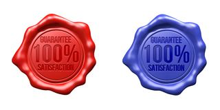Wax Seal Set (Red, Blue) - 100% Guarantee Satisfaction. Isolated (white or transparent background Royalty Free Stock Image