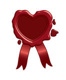 Wax seal in the shape of heart. Brown wax seal in the shape of heart 3d rendered Vector Illustration