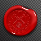Wax Seal Stamp Red Certificate Sign Transparent Background Mockup Icon. 3d Design Realistic Vector Illustration Royalty Free Stock Photo
