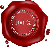 Wax seal with text: satisfaction, Royalty Free Stock Photo