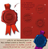 Wax Seal - Top Secret. Vector Illustration of a wax seal with a set of stamps regarding  Top Secret subjects. All design elements neatly on well-defined layers Royalty Free Stock Photo