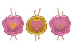 wax seal for Valentine`s day Royalty Free Stock Photos